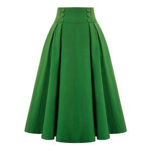 Retro Green A-Line Skirt